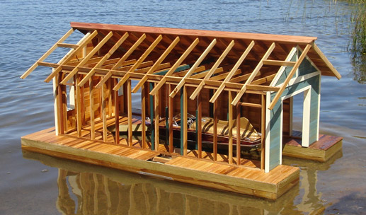 Andre M Poineau Woodworker Inc Floating Boathouse